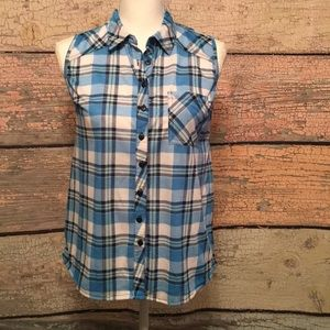 Passport Button Down Sleeveless Plaid Top Size S
